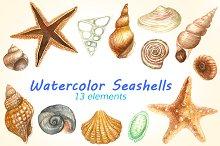 Watercolor Seashells Pack