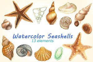 Watercolor Seashells Pack