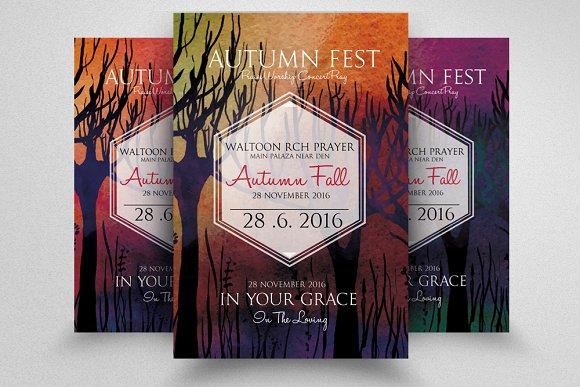 autumn fall fest party flyer flyer templates creative market