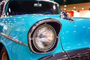 Color detail on the headlight of vintage car