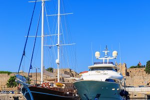 Luxury Yacht docked at Rhodes Port,Greece sunny day