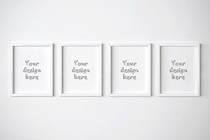 Four white frames mockup 11x14 inch