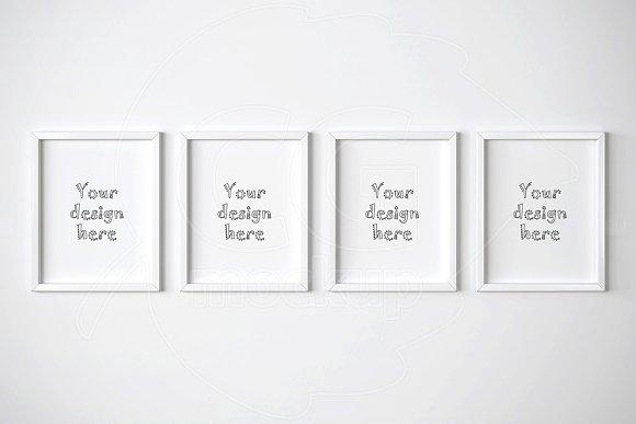 four white frames mockup 11x14 inch product mockups - White Frames