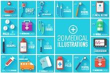 set of medical flat illustrations