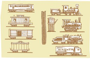 Woodcut Locomotives