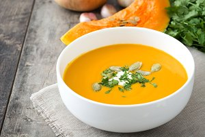 Pumpkin soup and ingredients
