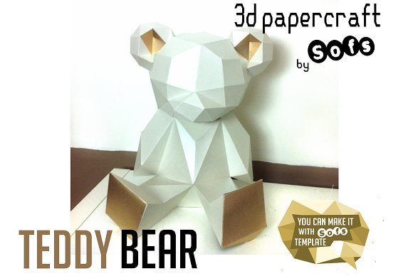 teddy bear 3d model template stationery templates creative market