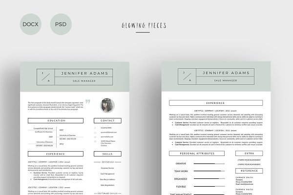 Cover Letter Templates: Glowing Pieces - 2 Page Resume & Cover Letter
