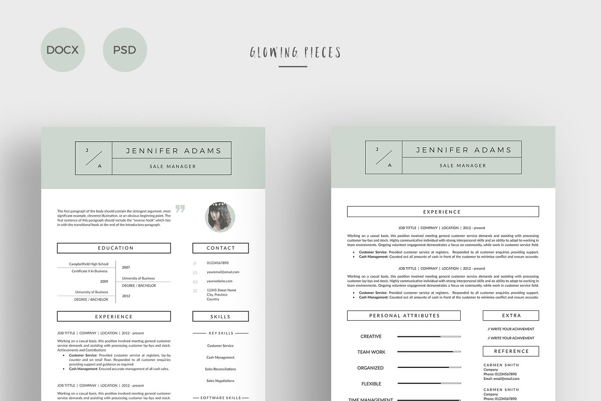 2 Page Resume Cover Letter Templates Creative Market