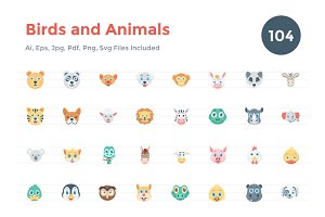 104 Flat Birds and Animals Icons