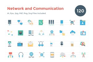 Flat Network and Communication Icons