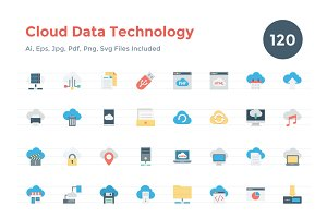 120 Flat Cloud Data Technology Icons
