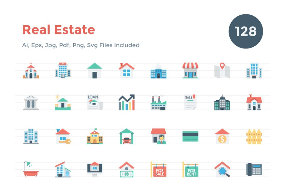 128 Flat Real Estate Icons