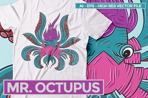 Mr. Octupus - Vector Illustration