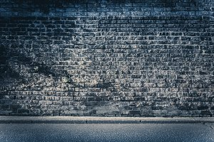 Brickwall background - dark blue