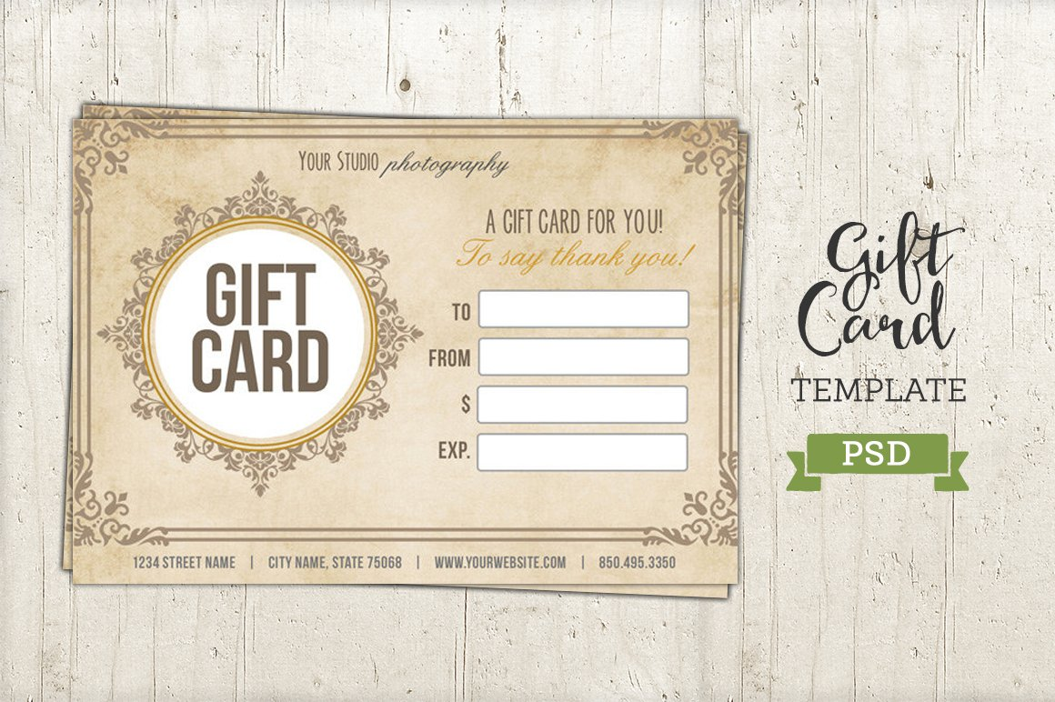 Printable gift certificate template photos graphics fonts gift card template psd certificate yadclub Images