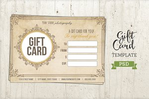Wedding Gift Card Free Download : Photography Gift Card Template ~ Card Templates on Creative Market