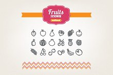 Hand drawn fruits icons