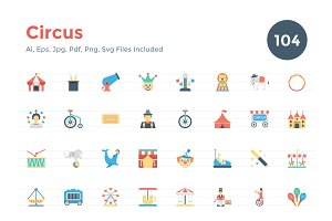 104 Flat Circus Icons