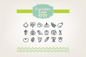 Hand drawn vegetables icons