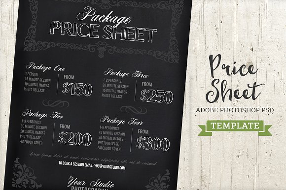 Chalkboard Price List Sheet Template Templates on Creative Market – Pricing Sheet Template