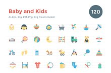 120 Flat Baby and Kids Icons