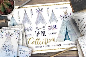 Watercolor bohemian teepee & pattern