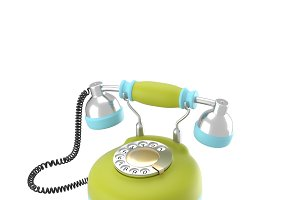Corded retro phone in bright colors