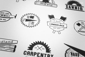Carpentry Wood Badges Logos