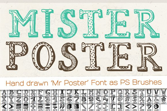 Hand Drawn Mr Poster Font Brushes Creative Market