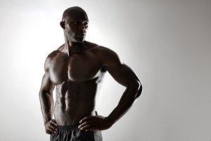 Shirtless male model posing