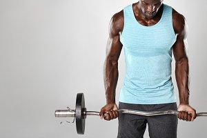 Male bodybuilder exercising
