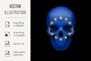 Skull with EU flag