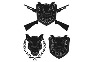 Hunting trophy boar set. Vector