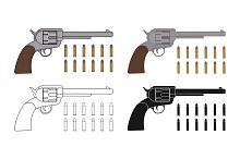 Revolvers with bullets. Vector
