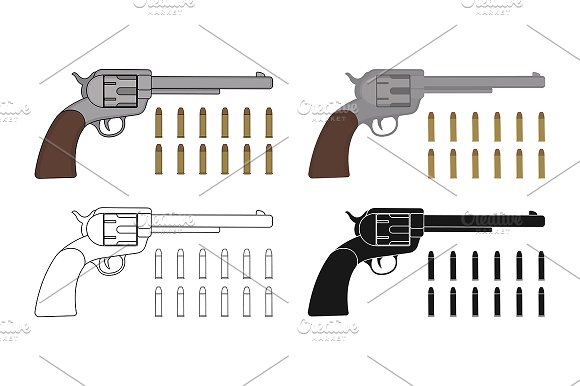 Revolvers with bullets. Vector - Illustrations