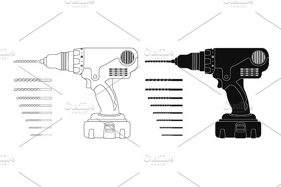 Cordless drill with bits. Vector - Illustrations