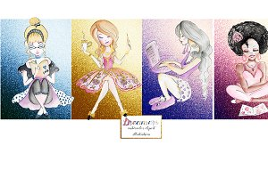 Girls illustrations, clipart.Glitter