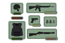 Military weapons icons. Vector