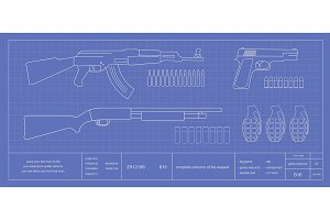 Blue print weapons set. Vector