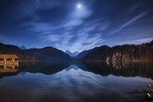 Night in Alpsee lake in Germany