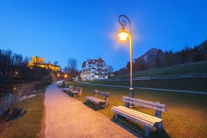 Beautiful benches with street lamp
