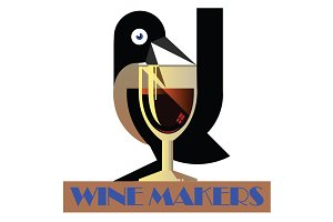 Wine Glass Bird Vector Poster Logo