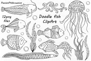 Doodle Fish Clipart