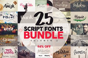 25 Fonts Bundle vol.2 [94% OFF]
