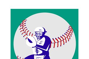 Baseball Player Catcher Retro