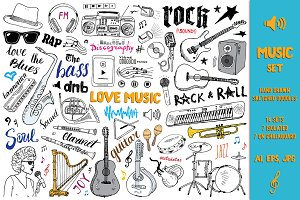 Music Sketched Doodles Vector Set
