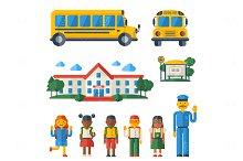 Set with School Bus
