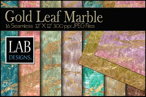 16 Gold Leaf Marble Textures