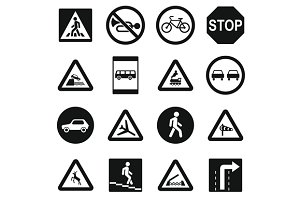 Road Sign Set icons, simple style